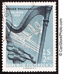 Postage stamp Austria 1959 Orchestral Instruments - AUSTRIA...