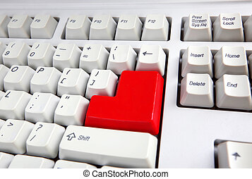 Keyboard with red button