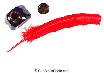 anticaglia,  inkwell, isolato, penna, bianco, rosso