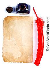 anticaglia, vendemmia,  inkwell, penna, pagina, rosso