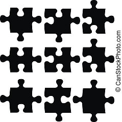 black puzzles - isolated black puzzle