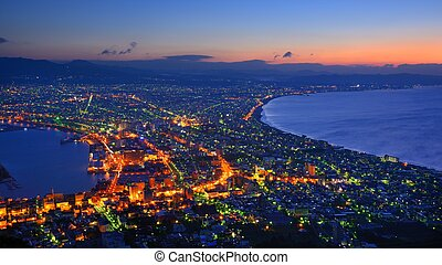 Hakodate, Japan View - The dawn sky over the reknown view of...