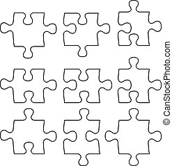 separated puzzle - isolated puzzle peaces