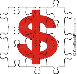 puzzle money - metaphoric image, puzzle and cash symbol