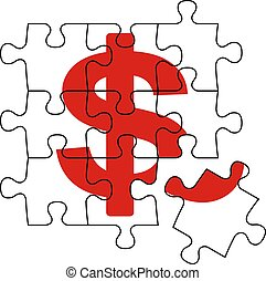 cash puzzle - metaphoric image, puzzle and cash symbol