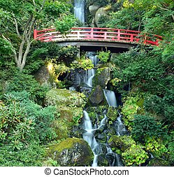 Japanese Waterfall - Scenic Japanese waterfall in HIrosaki,...