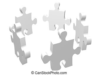 white meeting - high quality 3d render of puzzle pieces,...