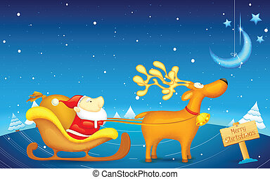 Santa Claus riding in sledge on Christmas - illustration of...