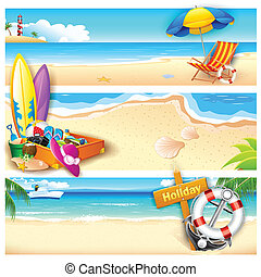 Holiday on Beach - illustration of template for holiday on...