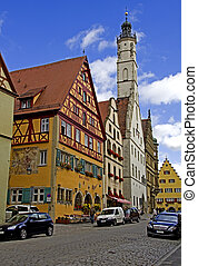 Rothenburg ob der Tauber - Old restaurated houses in the...