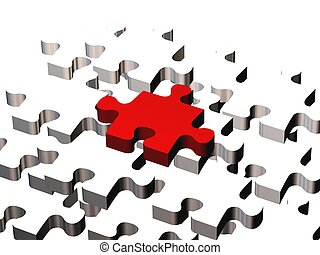 the prime piece - high quality 3d render of puzzle pieces,...