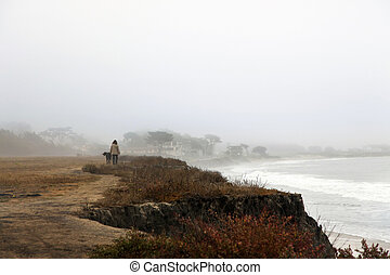 Half Moon Bay - Foggy autumn morning in California. The...