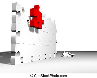 red on wall - high quality 3d render of puzzle pieces,...