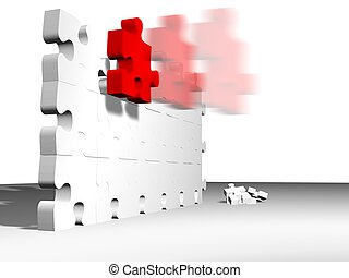 fast piece - high quality 3d render of puzzle pieces,...