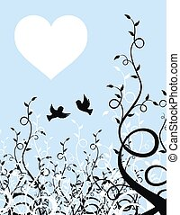 love sparrows - flying sparrows on plant background