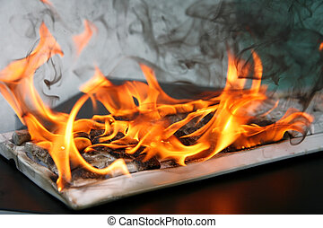 burning computer keyboard