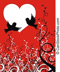 love birds - flying sparrows on plant background