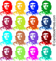 Ernesto Che Guevara paper illustration like a Andy Warhol 4...