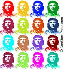 Ernesto, Che, Guevara, papel, Ilustración, como,...