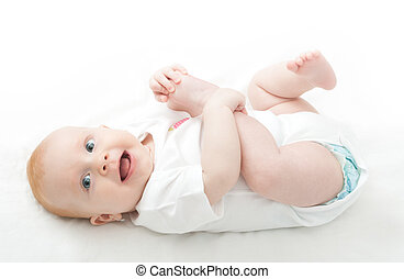 Baby Girl - Cute Baby Girl Playing With Her Toes on White...