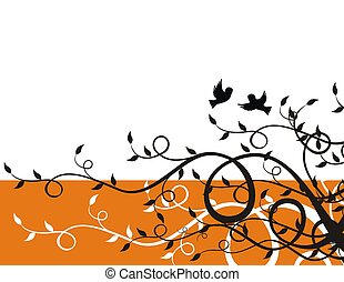 sparrows and plants - flying sparrows on plant background