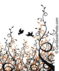 plants and birds - flying sparrows on plant background
