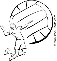 Volleyball Player Spiking - Vector illustration of a young...