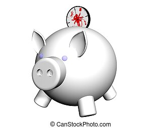 piggy timebank - metaphor image of a piggybank whit clock...