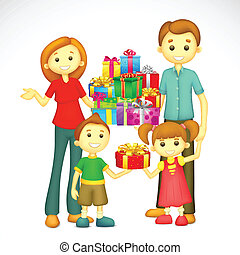 Family with Holiday Gift