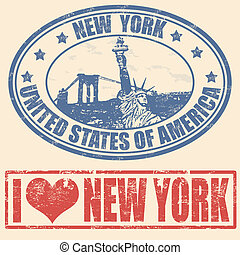 New York stamps - Set of grunge rubber stamps with New York,...