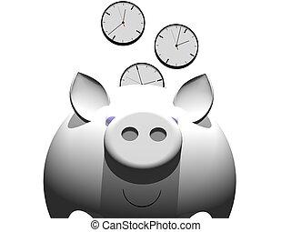 savingtime - metaphor image of a piggybank whit clock coin