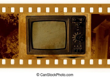 old 35mm frame photo with vintage TV