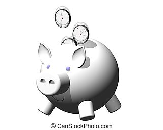 savetime - metaphor image of a piggybank whit clock coin