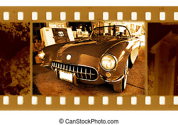 old 35mm frame photo with american retro car
