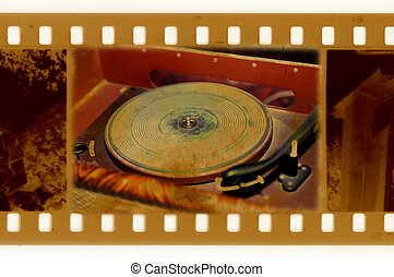 oldies 35mm frame photo with vintage gramophone