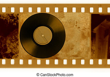 oldies 35mm frame photo with vintage vinyl disk
