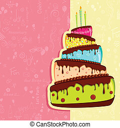 Birthday Card - illustration of birthday card with colorful...