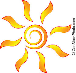 Sun icon logo vector - Sun with swirly rays logo vector