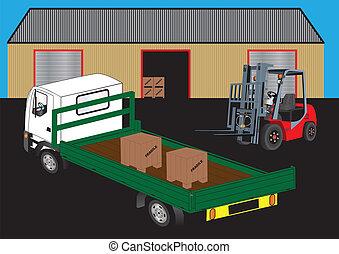 Forklift Truck - A Red Fork Lift Truck unloading a green...