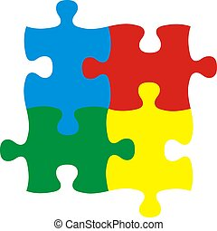 four puzzles - puzzle pieces, image applicable to several...