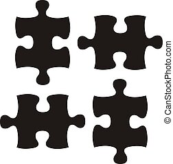 black puzzle - puzzle pieces, image applicable to several...
