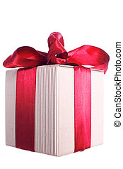 gift box with red ribbon and bow isolated on white