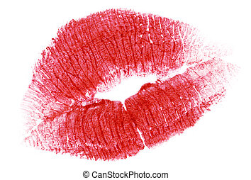 red lips isolated on white
