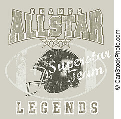 All star Football - crack illustration for shirt printed and...