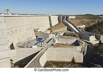 Alqueva dam - Overview of the downstream side of Alqueva dam...