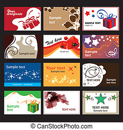Set of business cards on different  topics