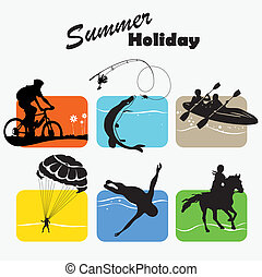Active rest, summer holiday, set icon, vector illustration