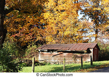 Old Country Barn in the Fall near Saratoga Springs New York
