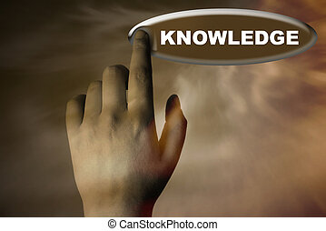 hand and button with word of KNOWLEDGE
