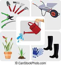 Gardening icons set, vector illustration